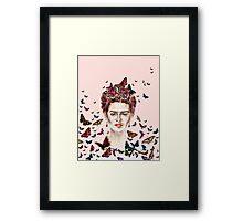 Frida Kahlo Flowers Butterflies Framed Print