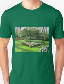 Beds of Red Tulips and Pink Hyacinths - Keukenhof Gardens Unisex T-Shirt