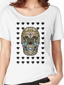 Love Hearts Skull 2  Death Goth Dark Green Halloween Dead Day Women's Relaxed Fit T-Shirt