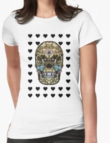 Love Hearts Skull 2  Death Goth Dark Green Halloween Dead Day Womens Fitted T-Shirt