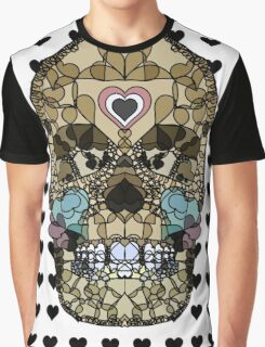 Love Hearts Skull 2  Death Goth Dark Green Halloween Dead Day Graphic T-Shirt