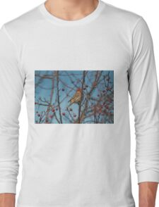 House finch plucking fruit from the crabapple tree Long Sleeve T-Shirt