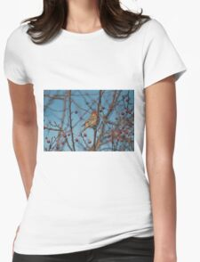 House finch plucking fruit from the crabapple tree Womens Fitted T-Shirt