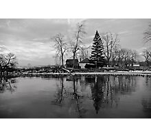 Sanctuary on the lake in black and white Photographic Print