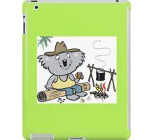 Cartoon koala bear sitting by campfire in outback iPad Case/Skin
