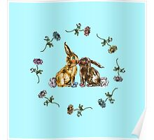 Animal Bunny Rabbit Easter Furry Celebration Flowers Petals Love Kissing Couple Relationships Poster