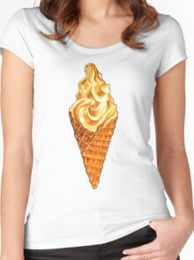 Vanilla Soft Serve Pattern Women's Fitted Scoop T-Shirt
