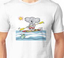 Cartoon of happy koala on paddle board Unisex T-Shirt