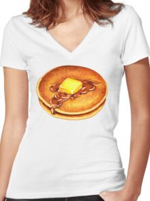 Pancake Pattern Women's Fitted V-Neck T-Shirt