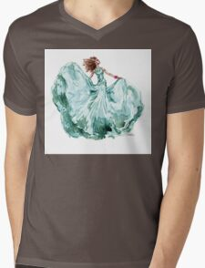 Fashion Blue Turquoise Dress Girl Gown Princess Queen Ice Mens V-Neck T-Shirt