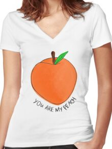Peach Women's Fitted V-Neck T-Shirt