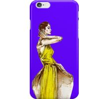 Lady Calla Lily Vintage Fashion Dress in Yellow on Violet Blue iPhone Case/Skin