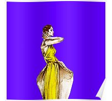 Lady Calla Lily Vintage Fashion Dress in Yellow on Violet Blue Poster