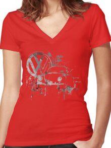Volkswagen Beetle Splash BW © Women's Fitted V-Neck T-Shirt