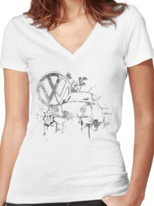 Volkswagen Beetle Splash BW © Women's Fitted V-Neck T-Shirt