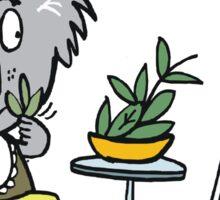 Cartoon of happy koala bear eating gum leaf salad Sticker