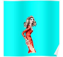 Lady in Red Vogue Dress Fashion Girl on Cyan Blue Vintage Beautiful Summer Poster