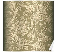 Taupe Floral Poster