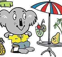Cartoon koala bear sitting under cafe sun umbrella by Al Benge