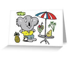 Cartoon koala bear sitting under cafe sun umbrella Greeting Card
