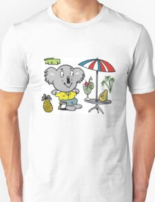 Cartoon koala bear sitting under cafe sun umbrella T-Shirt