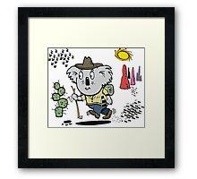 Cartoon of happy koala bear swagman in outback Framed Print