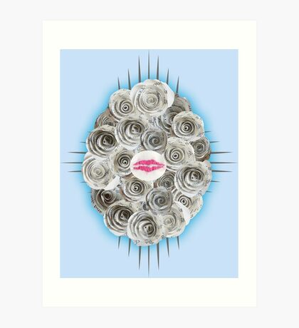 Embroidered kiss Art Print