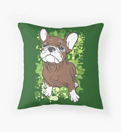 French Bull Dog Cartoon Brown and White Throw Pillow