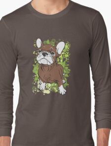 French Bull Dog Cartoon Brown and White Long Sleeve T-Shirt