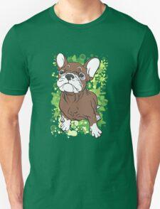 French Bull Dog Cartoon Brown and White Unisex T-Shirt
