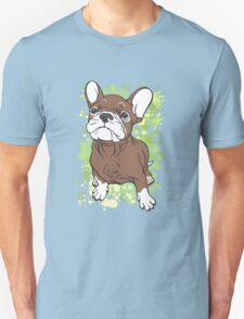 French Bull Dog Cartoon Brown and White T-Shirt