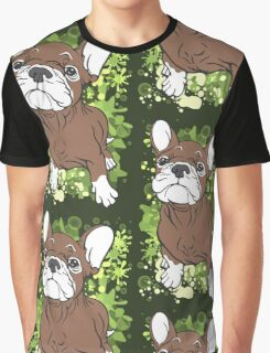 French Bull Dog Cartoon Brown and White Graphic T-Shirt