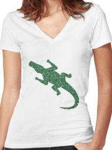 Alligator art puzzle pattern Women's Fitted V-Neck T-Shirt
