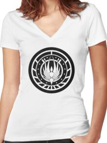 Battlestar Galactica Design - Colonial Seal Women's Fitted V-Neck T-Shirt