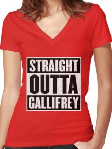 Straight Outta Gallifrey - The Time Lord's in the Hood - Movie Mashup - Geek Humor - Syfy - Doctor Who Mashup Women's Fitted V-Neck T-Shirt