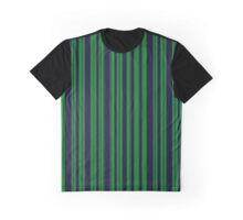 Classic Navy Blue and Green Stripes Graphic T-Shirt
