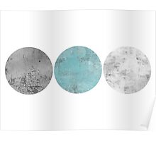 Triple Circle Geometric Print Turquoise Poster