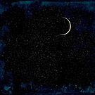 Crescent Moon On A Starry Night  by JamesPeart