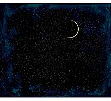 Crescent Moon On A Starry Night  Photographic Print
