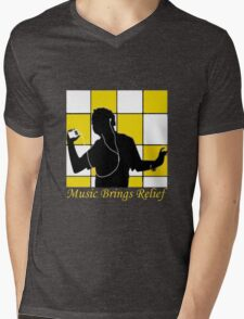 Music Brings Relief Mens V-Neck T-Shirt