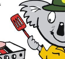 Cartoon of happy koala bear using barbecue Sticker