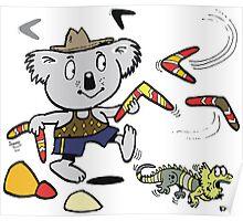 Cartoon koala bear throwing boomerangs at lizard Poster