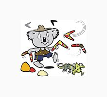 Cartoon koala bear throwing boomerangs at lizard Unisex T-Shirt