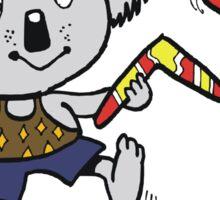 Cartoon koala bear throwing boomerangs at lizard Sticker