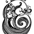 The Letter 'E', black ink drawing by Danielle Scott