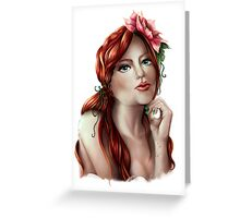Fiery Waterlily Portrait Illustration Greeting Card