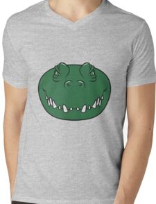 Crocodile face cool Mens V-Neck T-Shirt