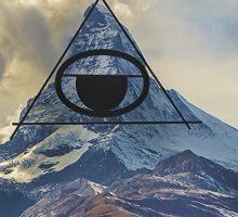 Illuminati Conspiracy Free Masion Organization Symbol on Mountian Landscape Sticker