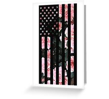 Black American Flag with Cherry flower background Greeting Card