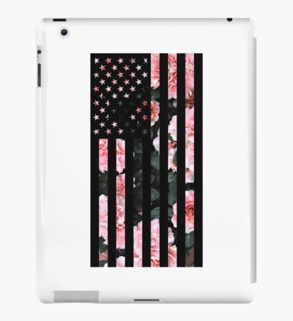 Black American Flag with Cherry flower background iPad Case/Skin
